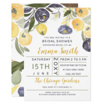 yellow and purple floral spring bridal shower card