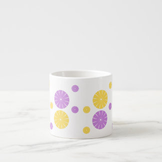 Yellow and purple flowery circles espresso cup
