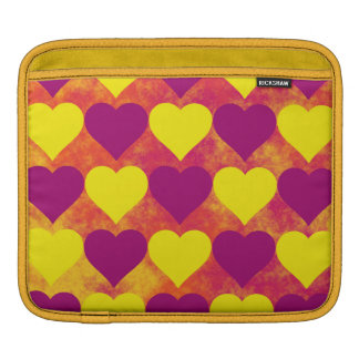 Yellow and Purple Hearts on Orange Fog Background Sleeves For iPads