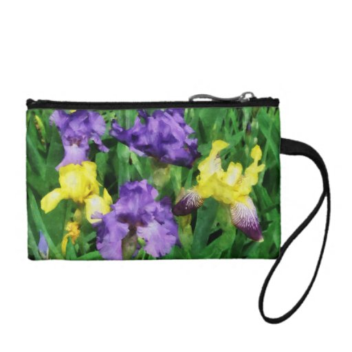 Yellow and Purple Irises Coin Wallets