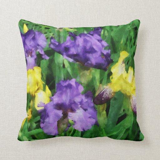 Yellow and Purple Irises Throw Pillows