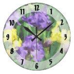 Yellow and Purple Irises Round Wall Clock