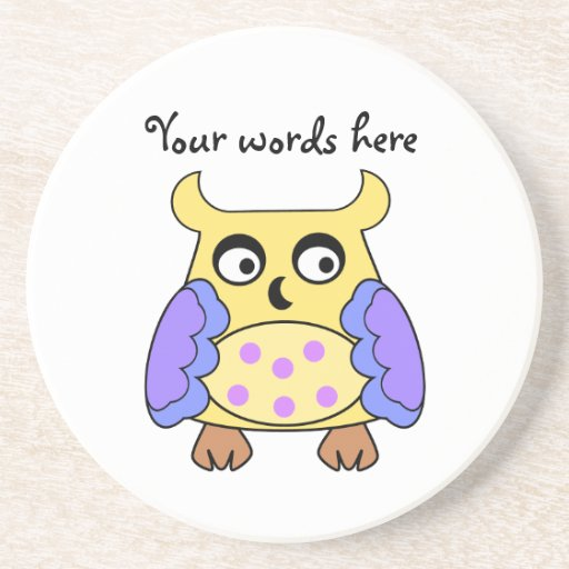 Yellow and purple owl drink coaster