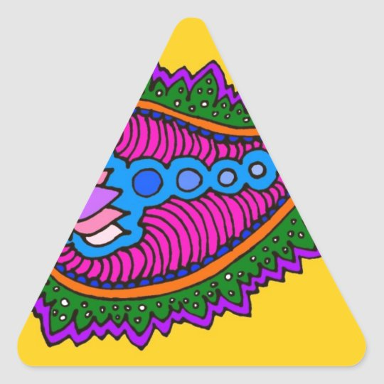 Yellow and purple paisley triangle sticker