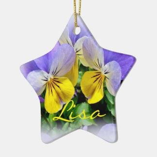 Yellow and Purple Pansies Ceramic Ornament