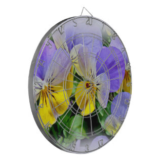 Yellow and Purple Pansies Dartboard With Darts