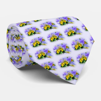 Yellow and Purple Pansies Tie