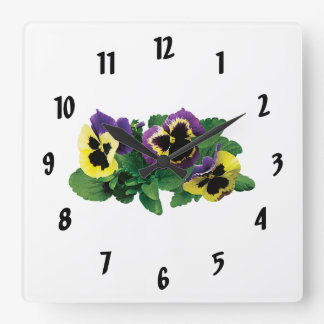 Yellow and Purple Pansy Trio Square Wallclocks