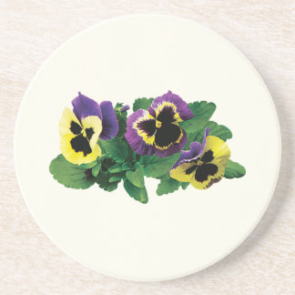 Yellow and Purple Pansy Trio Drink Coaster