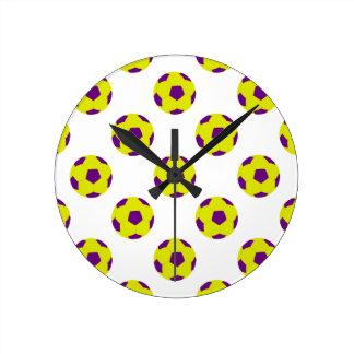 Yellow and Purple Soccer Ball Pattern Round Clock