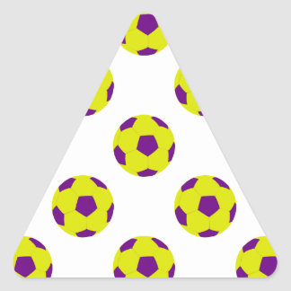 Yellow and Purple Soccer Ball Pattern Triangle Sticker