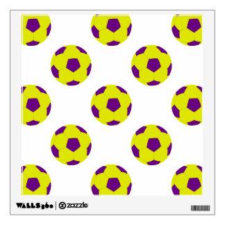 Yellow and Purple Soccer Ball Pattern Wall Skins