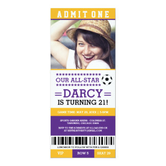 Yellow and Purple Soccer Ticket Birthday Invites