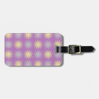 Yellow and purple sun pattern illustration luggage tag