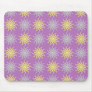 Yellow and purple sun pattern illustration mouse pad