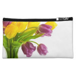 Yellow and Purple Tulips Background Customized Cosmetics Bags