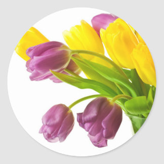 Yellow and Purple Tulips Background Customized Classic Round Sticker