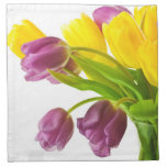 Yellow and Purple Tulips Background Customized Printed Napkins
