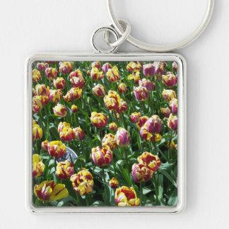 Yellow and Purple Tulips Keychain
