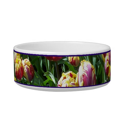 Yellow and Purple Tulips Pet Bowl