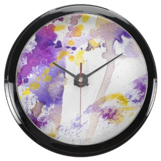yellow and purple watercolor background aquarium clocks