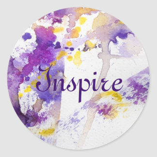 yellow and purple watercolor background classic round sticker