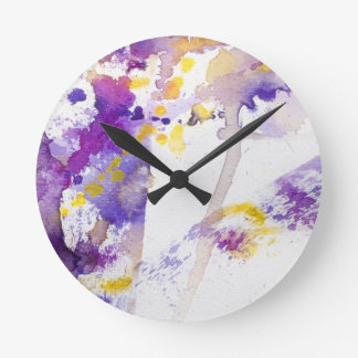 yellow and purple watercolor background round wall clocks
