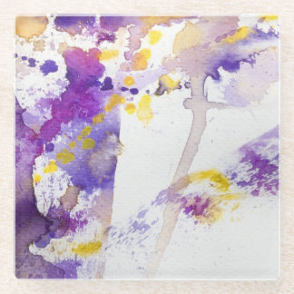 yellow and purple watercolor background glass coaster