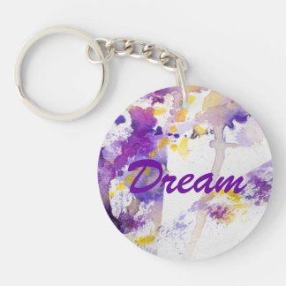 yellow and purple watercolor background keychain