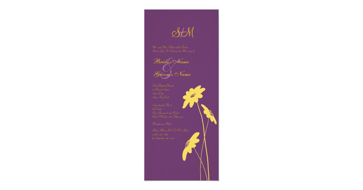 Yellow And Purple Wildflowers Wedding Invitation