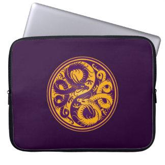 Yellow and Purple Yin Yang Chinese Dragons Laptop Computer Sleeve
