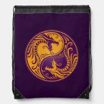 Yellow and Purple Yin Yang Dragons Cinch Bag