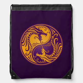 Yellow and Purple Yin Yang Dragons Cinch Bag