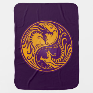 Yellow and Purple Yin Yang Dragons Baby Blanket