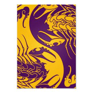 """Yellow and Purple Yin Yang Scorpions 3.5"""" X 5"""" Invitation Card"""