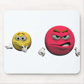 Yellow and red angry emoticon or smiley mouse pad