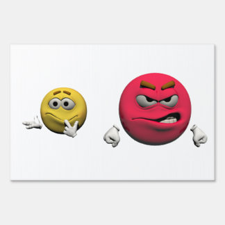 Yellow and red angry emoticon or smiley sign
