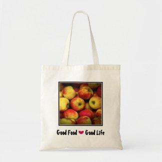 Yellow and Red Apples Good Food Good Life Tote Bag