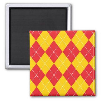 Yellow and Red Argyle Pattern Magnet