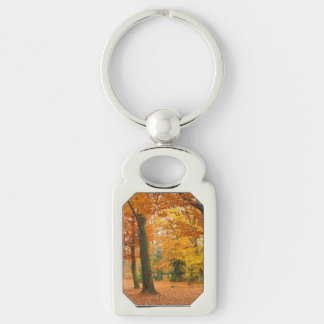 Yellow and Red Autumn Trees and Leaves Silver-Colored Rectangular Metal Keychain