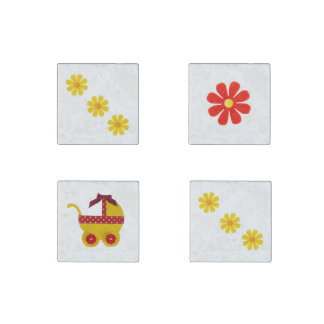 Yellow and red baby carriage, red, yellow flowers stone magnet
