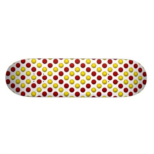Yellow and Red Basketball Pattern Skateboard Decks