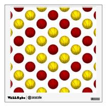 Yellow and Red Basketball Pattern Wall Sticker