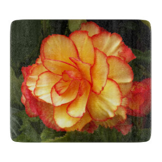 Yellow and Red Begonia Floral Cutting Board