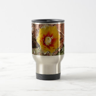 Yellow and red cactus flower in bloom travel mug