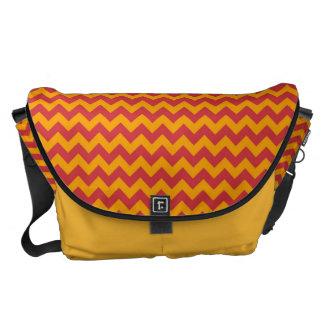Yellow and Red Chevron Zigzap Pattern Messenger Bag