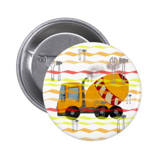 Yellow and red concrete mixer 2 inch round button