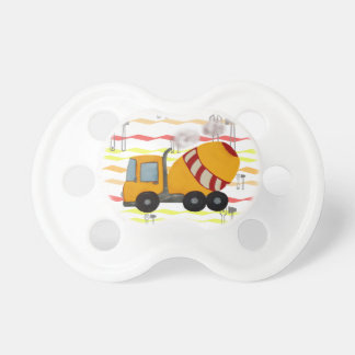 Yellow and red concrete mixer pacifier