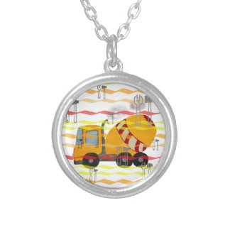 Yellow and red concrete mixer round pendant necklace