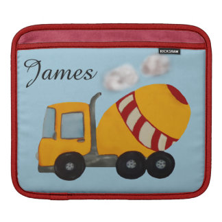 Yellow and red concrete mixer sleeve for iPads